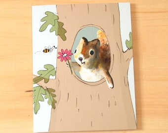 Cute social distancing, greeting from home, squirrel and bee