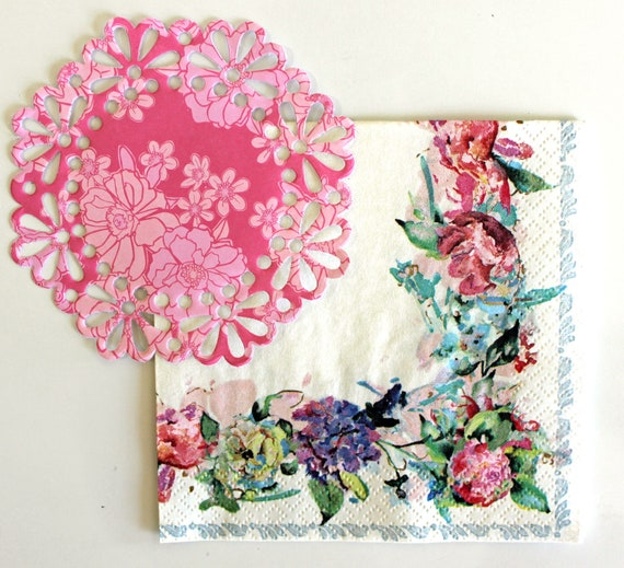 4 Individual Napkins for decoupage Natural Leaves Lilac//Pink junk journa...