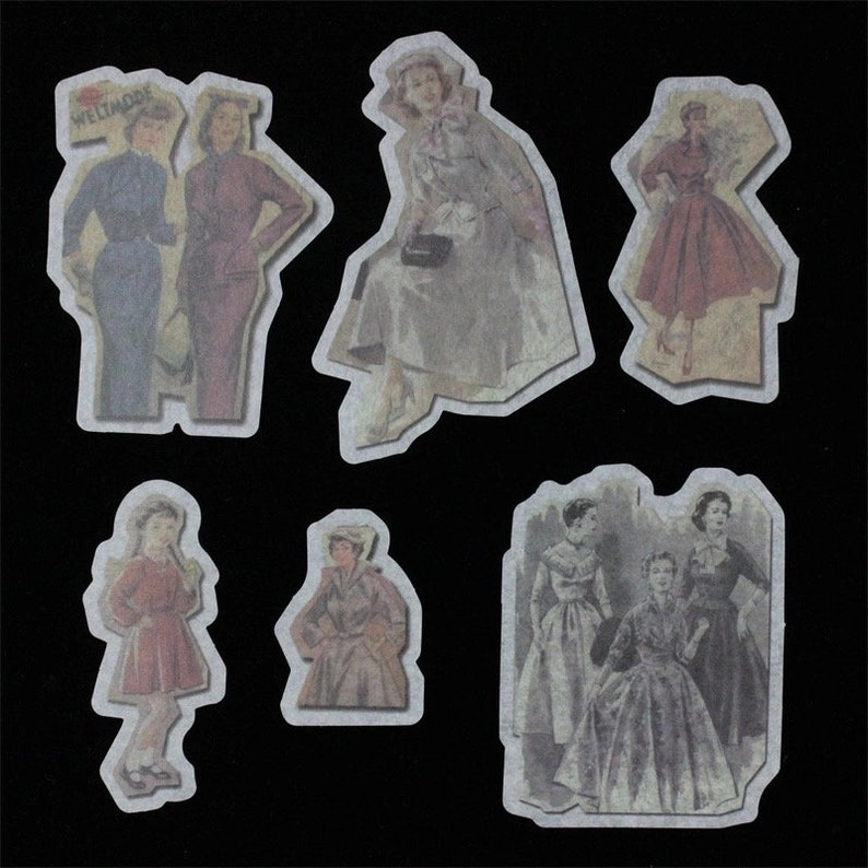 Vintage Fashion*60 Pcs Retro Fashion Die Cut Stickers*Washi Paper People Stickers*Journal Scrapbook Card Mixed Media Supply