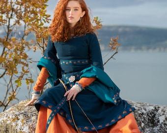 """Woolen Bliaut """"Sea Born"""" overdress for women; Fitted woolen overdress; Long Sleeve Medieval Dress"""