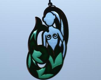 "Enamel and brass ocean mermaid pendant ""Sea Born""; Fantasy style brass necklace; Enamelled Necklace; renaissance torc"