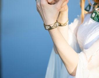"""Enamelled brass medieval narrow bracelet """"Water Flowers""""; Enamelled medieval bangle; Medieval Bracelet; Women's Bracelet"""
