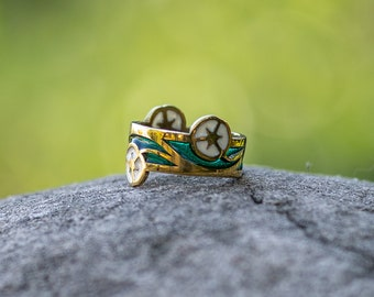 """Enamel and brass Elvish ring with Flowers """"Water Flowers; fantasy ring; magic ring; brass band; medieval ring; renaissance"""