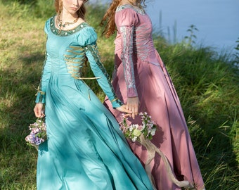 """Medieval dress with puffed sleeves """"Water Flowers""""; Cotton dress with faux pearls, pleats and beading; renaissance outfit"""