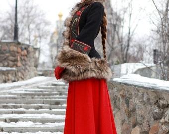 """Long Wool Skirt """"Russian Seasons""""; warm skirt; winter skirt; Russian folk costume"""