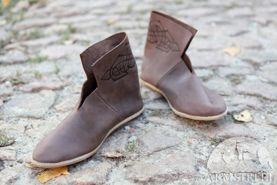 2d94f451bdec4 14% DISCOUNT! Early Medieval Shoes with Burned Image; pagan shoes; celtic  shoes; slavic shoes; sca shoes; larp shoes