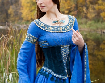 """Wedding Ren Dress and Corset """"Lady of the Lake""""; Medieval Linen Dress and Suede Bodice"""