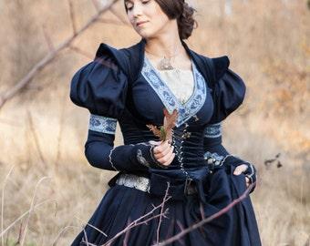 """Medieval Cotton Fantasy Dress and Vest Costume """"Lost Princess""""; Dress and Velvet Vest"""