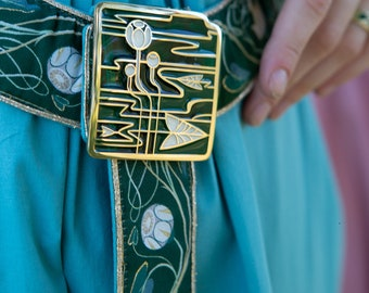 """Buckle jewellery for a fabric belt """"Water Flowers"""" pin; Enamel and brass accessory; medieval pin; renaissance pin"""