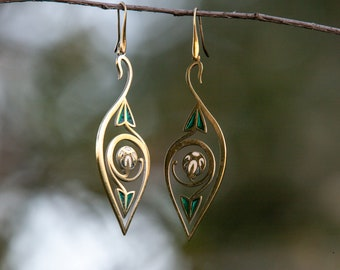 "Brass and Enamel Earrings with Flowers ""Water Flowers""; women's earrings; medieval earrings, brass earrings; enamel earring"