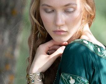 "Enamelled brass wide medieval bracelet ""Water Flowers"" bangle; Enamelled medieval bangle; Medieval Bracelet;"