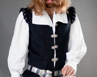 "Mens Vest ""Chevalier"" renaissance medieval noble black vest; wool vest; woolen vest; lined vest"