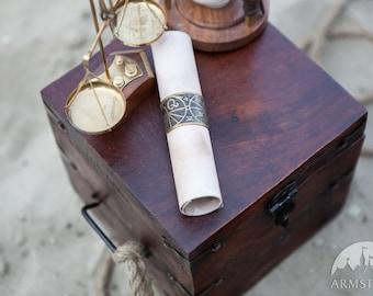 "Manuscript Letter Ring ""The Alchemists daughter""; wedding medieval napkin ring; letter clasp"