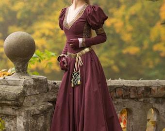 "Medieval Cotton Fantasy Dress ""Princess in Exile""; Long Dress; Women's Dress; Medieval Dress"