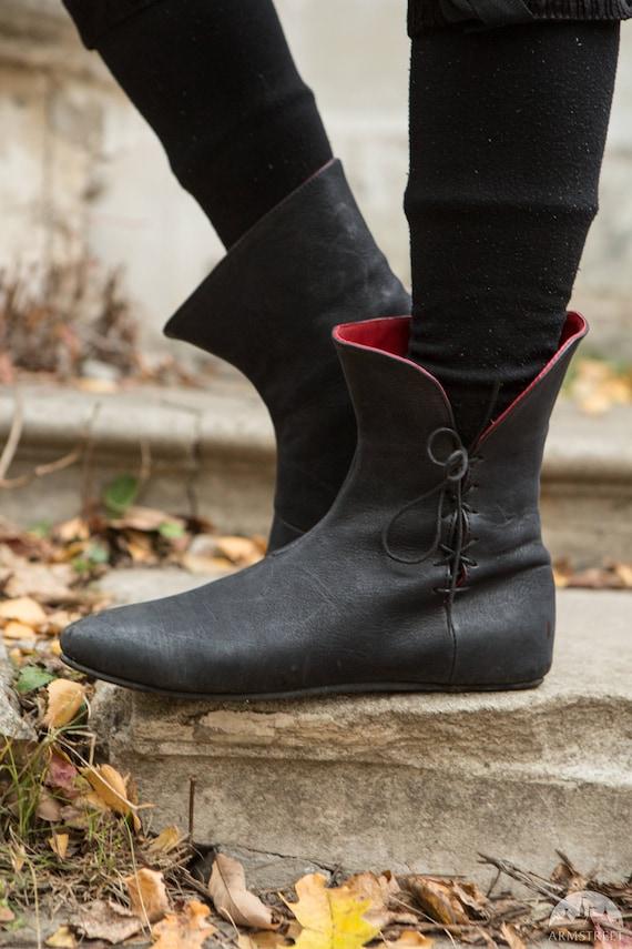 15% Rabatt! Mittelalterliche Fantasy Damen Lederstiefel; Goth Schuhe; Gothic Stiefel