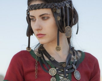 """BROWN with brass Steampunk Necklace """"The Alchemists daughter""""; In Stock; Ready to Ship; Discounted Price;"""