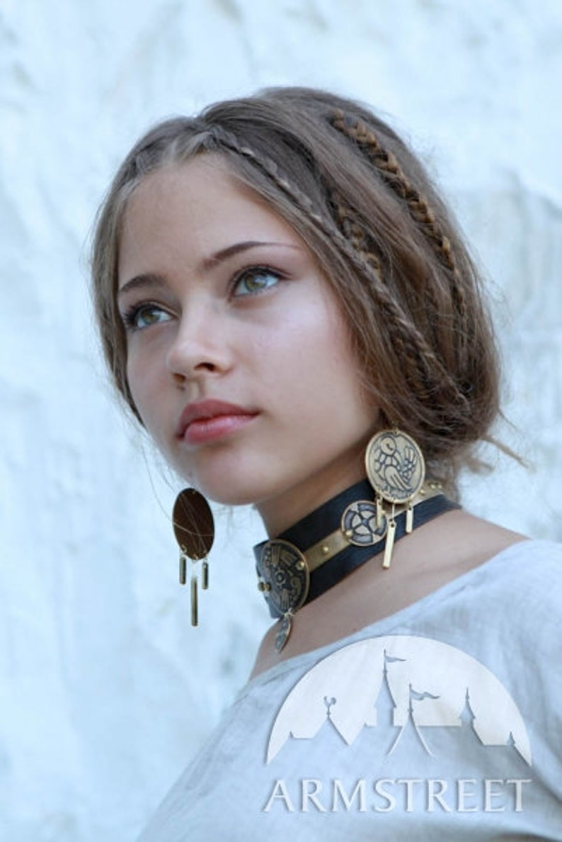 25/% OFF Leather Choker Archeress exclusive brass etched  fantasy style necklace