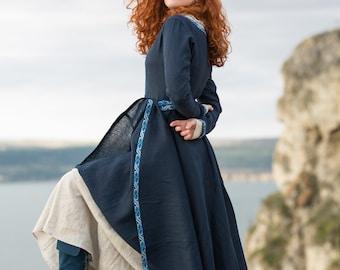 "Flax linen tunic dress ""Sea Born""; Medieval Long Women's Garb; Renaissance dress"