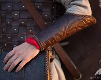 Men's Leather bracers with embossed pattern; Viking Vambracers (pair)