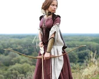"Medieval Renaissance Custom Linen Dress ""Archeress"" with Chemise and Corset"
