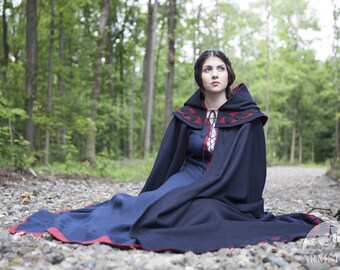 """Medieval Womens Cloak with Hood """"Forget Me Not""""; Fantasy Cloak; Woolen Cape"""