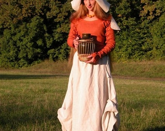 "Custom Dress and Skirt (Apron) Set with Hat ""Red Elise"""