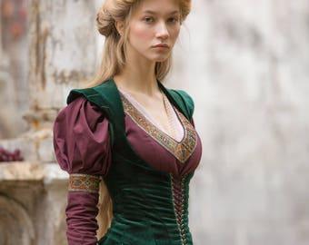 """Medieval Vest Bodice """"Princess in Exile"""";Fantasy Bodice; vest; medieval vest; ren vest; medieval waistcoat;"""