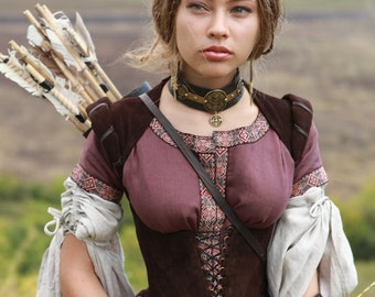 "Medieval Corset ""Archeress""; fairy corset; ren corset; elven corset; boned corset"