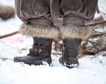 Leather Winter Boots with Fur