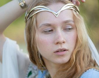 "Brass and melchior minimalistic elvish circlet ""Water Flowers""; Medieval Crown; Elvish Crown; renaissance diadem"