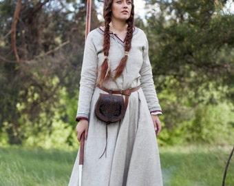"Ready to Ship! Discounted Price! Viking Dress Tunic ""Eydis the Shieldmaiden""; Natural Linen Dress"
