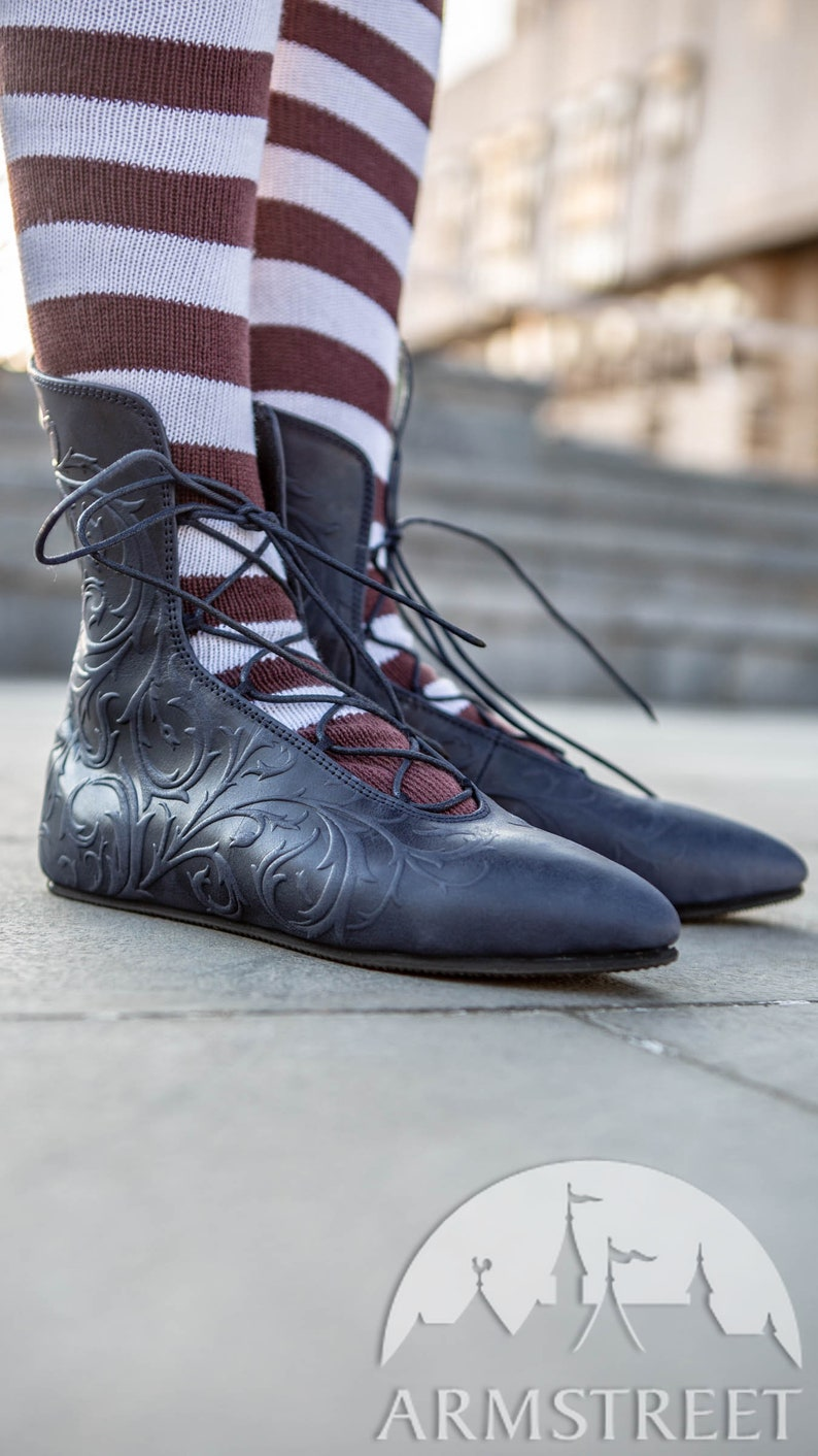 Embossed leather shoes with lacing \u201cRenaissance Memories\u201d; Feminine leather shoes with lacing; medieval shoes 15/% DISCOUNT