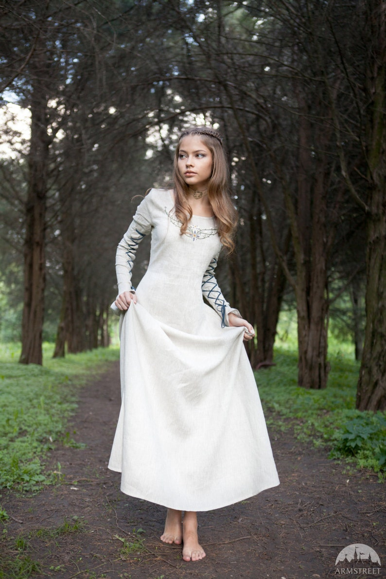 85bb425ac25 16% DISCOUNT Medieval Linen Dress Fairy Tale