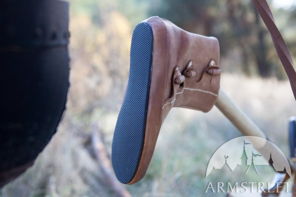 5% DISCOUNT! Men's Leather Short Boots; Viking Shoes; Footwear