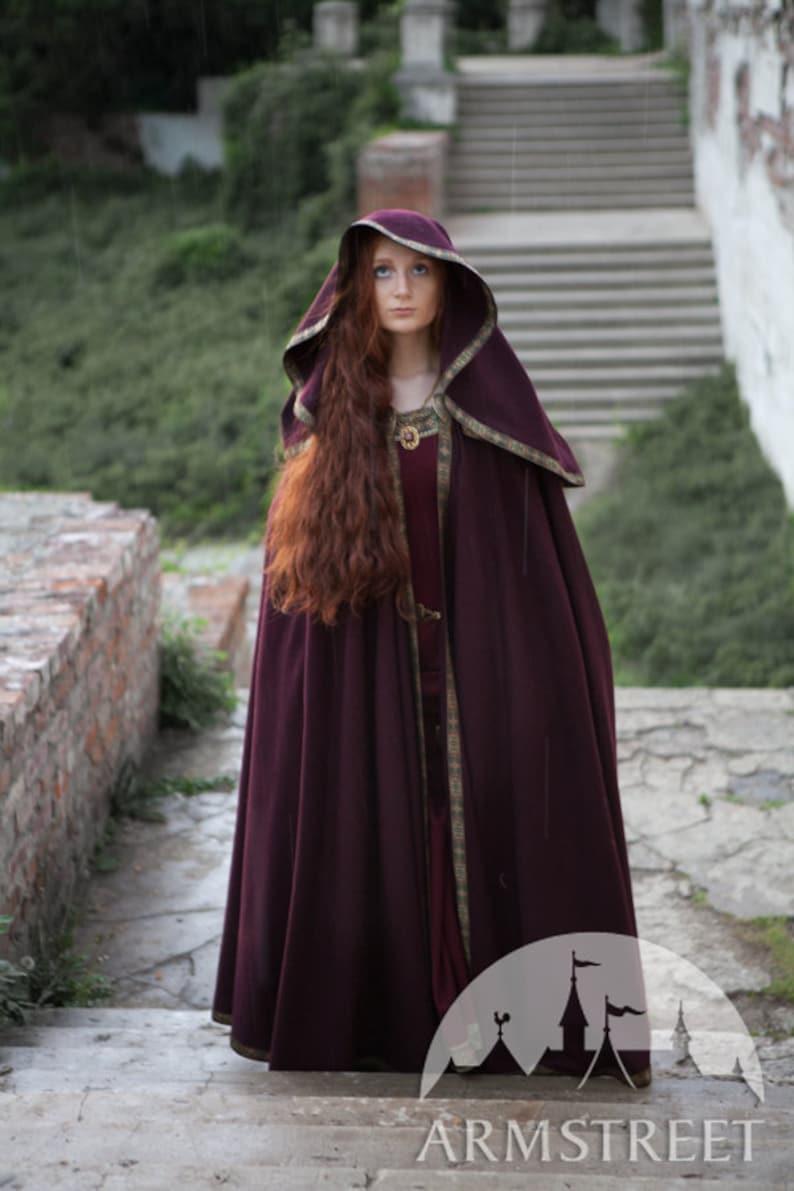 Medieval Wool Hooded Cloak Sansa image 1