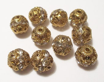 10 x Golden Rhinestone Bead, Size 10mm