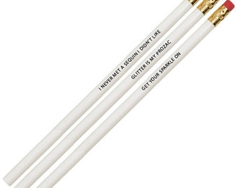 Personalized Pencils - Engraved Pencils - GLITTER Is My Prozac - White and Black Set of 6 Pencils - Desk Accessories-