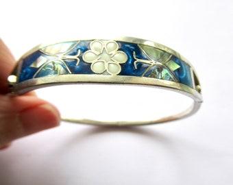 Vintage 925 sterling silver abalone shell panel link bracelet 8\u201d handmade artisan mexico