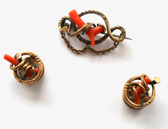 Antique Victorian Natural Branch Coral Love Knot Brooch Pin and Cuff Button Links Set 1800's