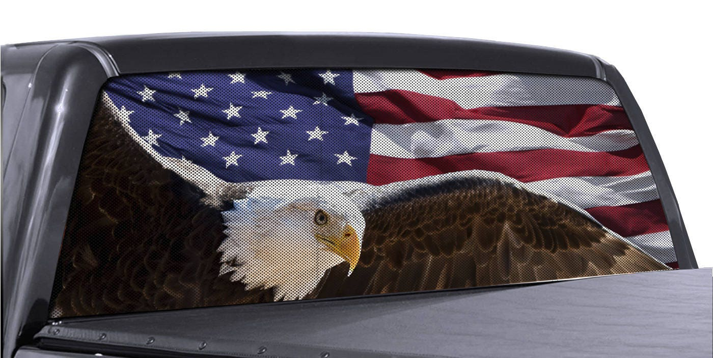 Truck Rear Window Wrap Soaring Eagle American Flag