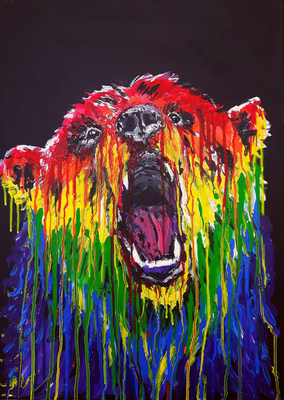 Peinture acrylique sur toile Arc en ciel Bear art   Etsy