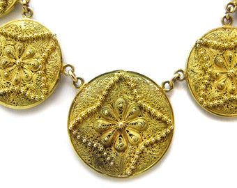 Amazing Gold 14-18 Filigree and Granulated Necklace