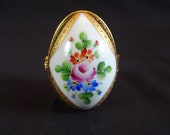 Limoges Floral Egg Shaped Storage Box, Vintage Pink Orange Blue Flowers Hinged Picture Container