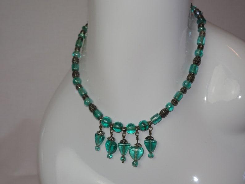 Vintage Choker Fashion Accessory Woman Jewelry Aqua Green Beaded Necklace
