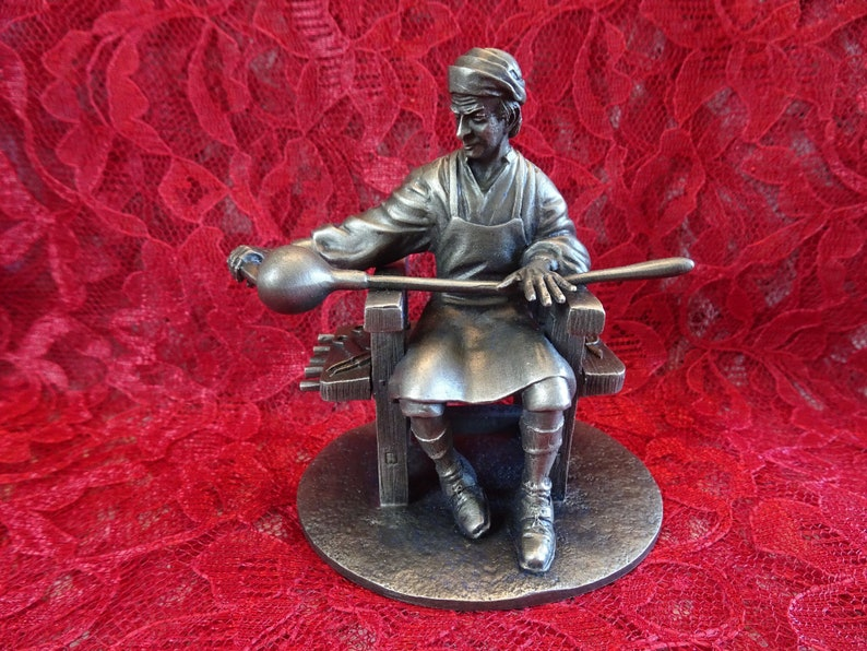 Vintage Pewter Figurine, The Glass Blower, 1970s The People of Colonial  America Collection, Retired Franklin Mint Sculpture, Andrew Chernak