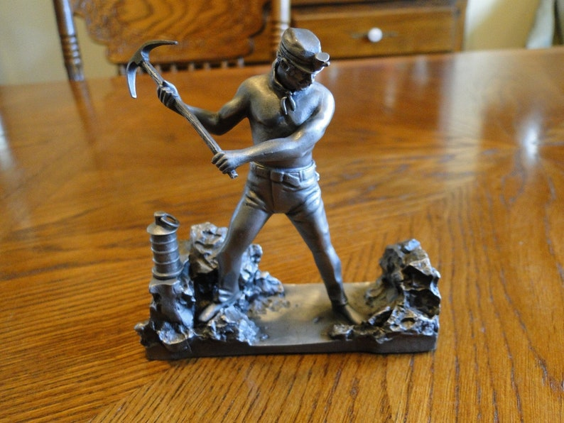 Vintage Pewter Figurine, The Miner Sculpture, Men & Woman who Built America  Collection, Ron Hinote, Man Swinging Axe looking for Ore