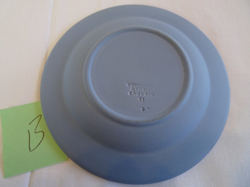 Vintage Pale Blue Pottery Ring Holder Tray Wedgwood Jasperware Round Trinket Dish