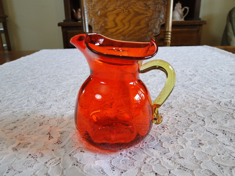 Antique Amberina Glass Decanter Pitcher W/ Diamond Pattern Decoration Decanters
