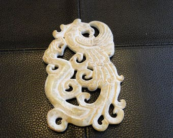 Vintage Asian Carved Stone Medallion, Detailed Oriental Dragon & Phoenix Pendant, Collectible Home Décor, Jewelry