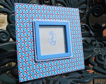 SALE....... Wooden photo frame decorated with nautical style cotton fabric